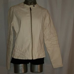 SALE! J2 cream colored polyurethane moto jacket